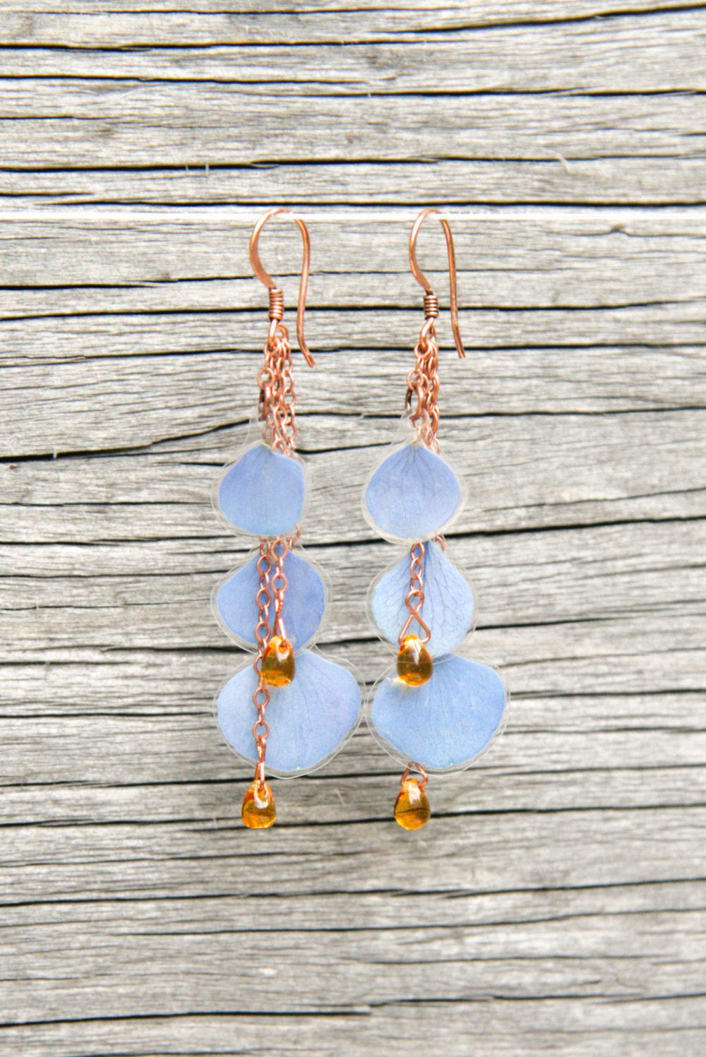 Blue Hydrangea Pressed Flower Earrings with Amber Czech Glass Beads