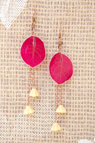 Fuchsia Bougainvillea Pressed Flower Earrings with Butterscotch Czech Glass Beads