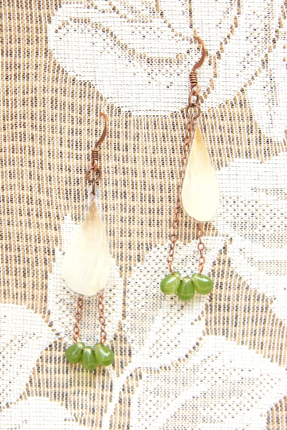 White Ranunculus Pressed Flower Earrings with Olive Czech Glass Beads
