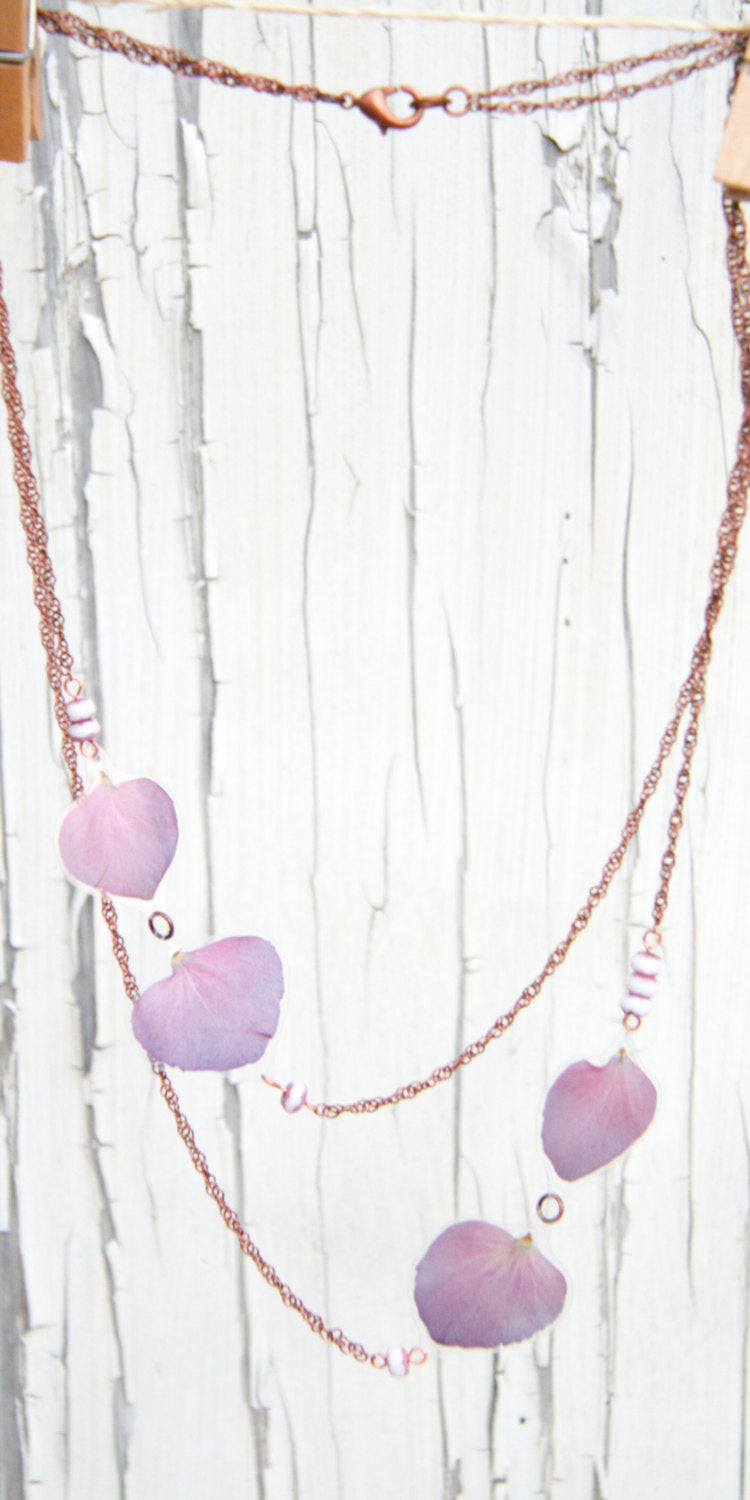 Purple Hydrangea Pressed Flower Necklace with Pink & White Czech Glass Beads