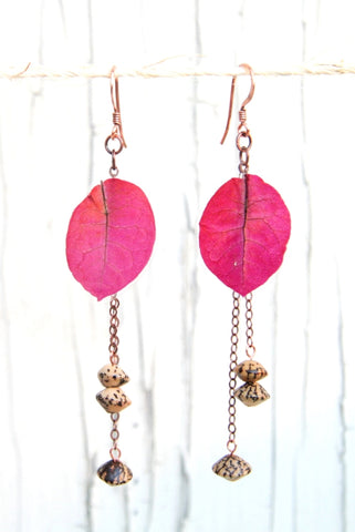 Fuchsia Bougainvillea Pressed Flower Earrings with Betel Nut Seeds