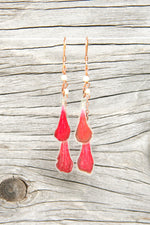 Red Geranium Pressed Flower Earrings with Ivory Czech Glass Beads