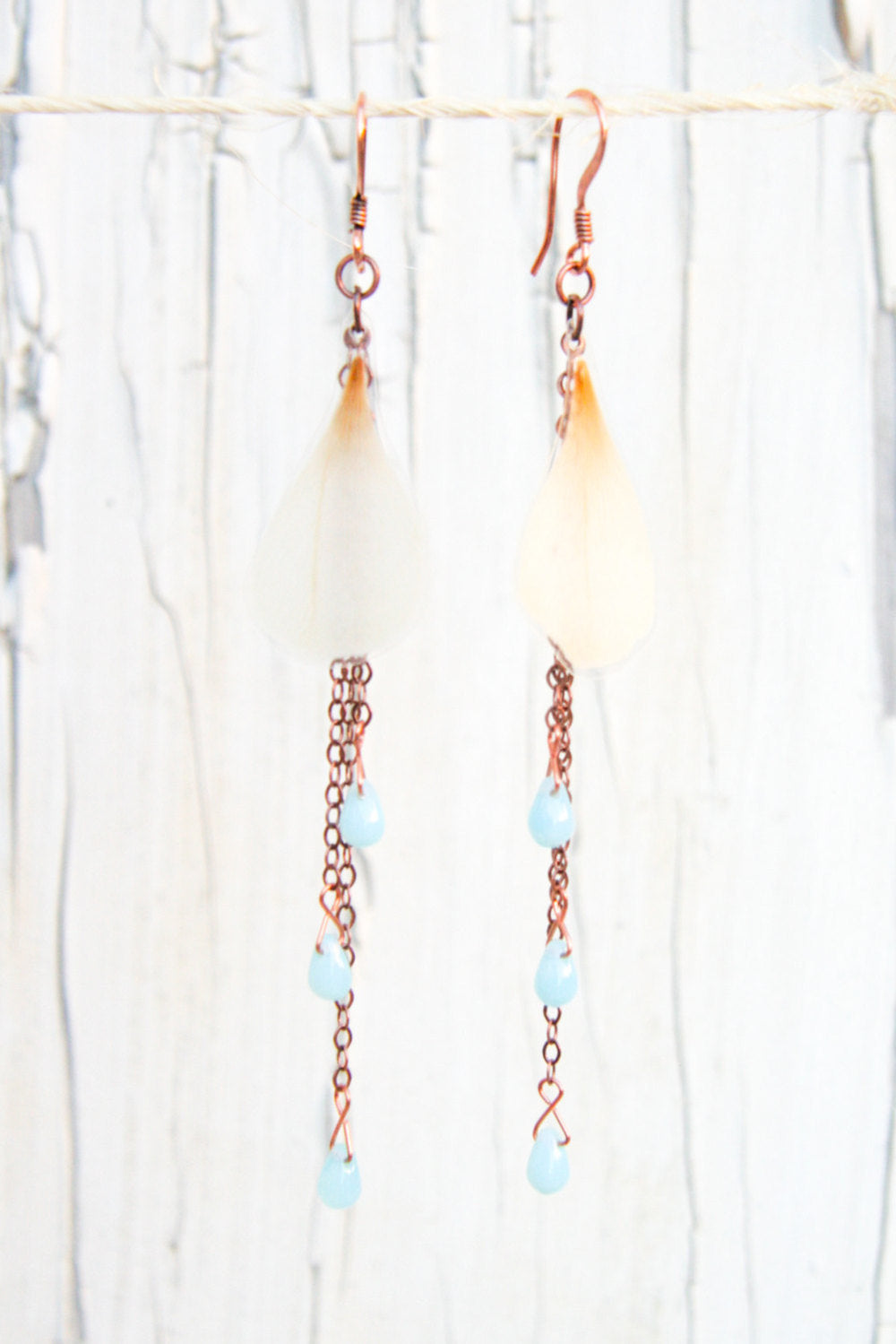 White Ranunculus Pressed Flower Earrings with Aqua Czech Glass Beads