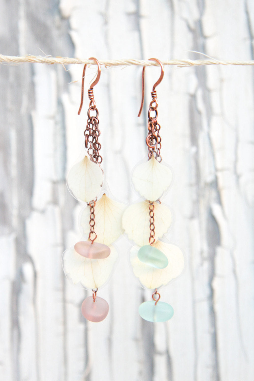 White Hydrangea Pressed Flower Earrings with Green OR Purple Sea Glass Beads