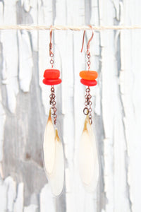 White Daisy Pressed Flower Earrings with Tangerine Sea Glass Beads