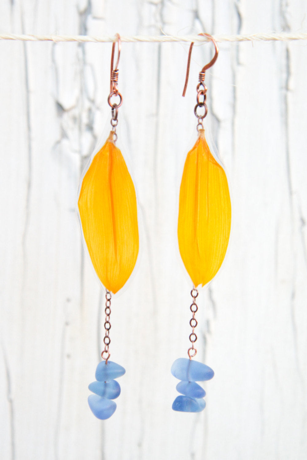Yellow Sunflower Pressed Flower Earrings with Sapphire Sea Glass Beads