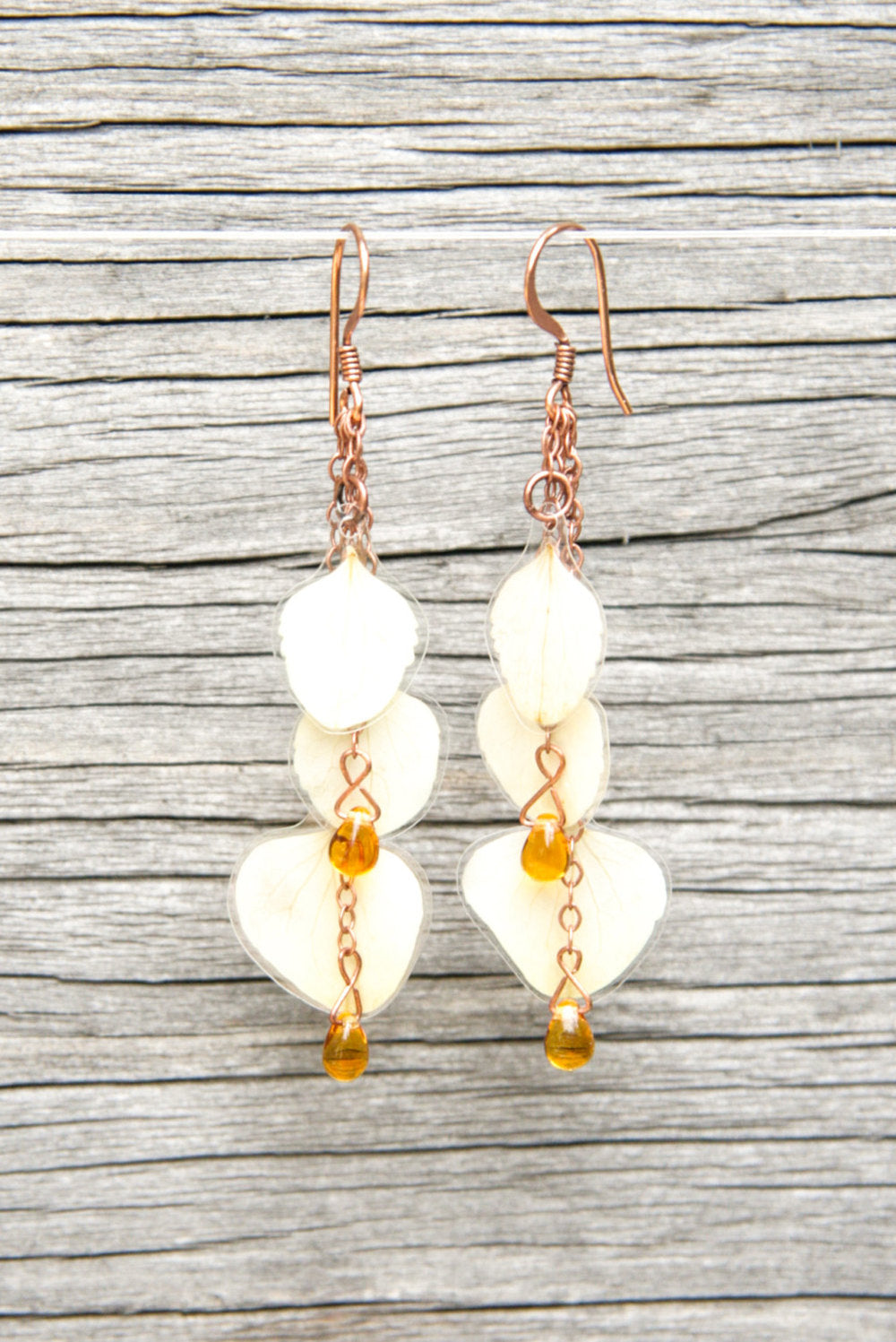 White Hydrangea Pressed Flower Earrings with Amber Czech Glass Beads