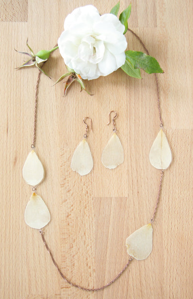 White Rose Pressed Flower Necklace