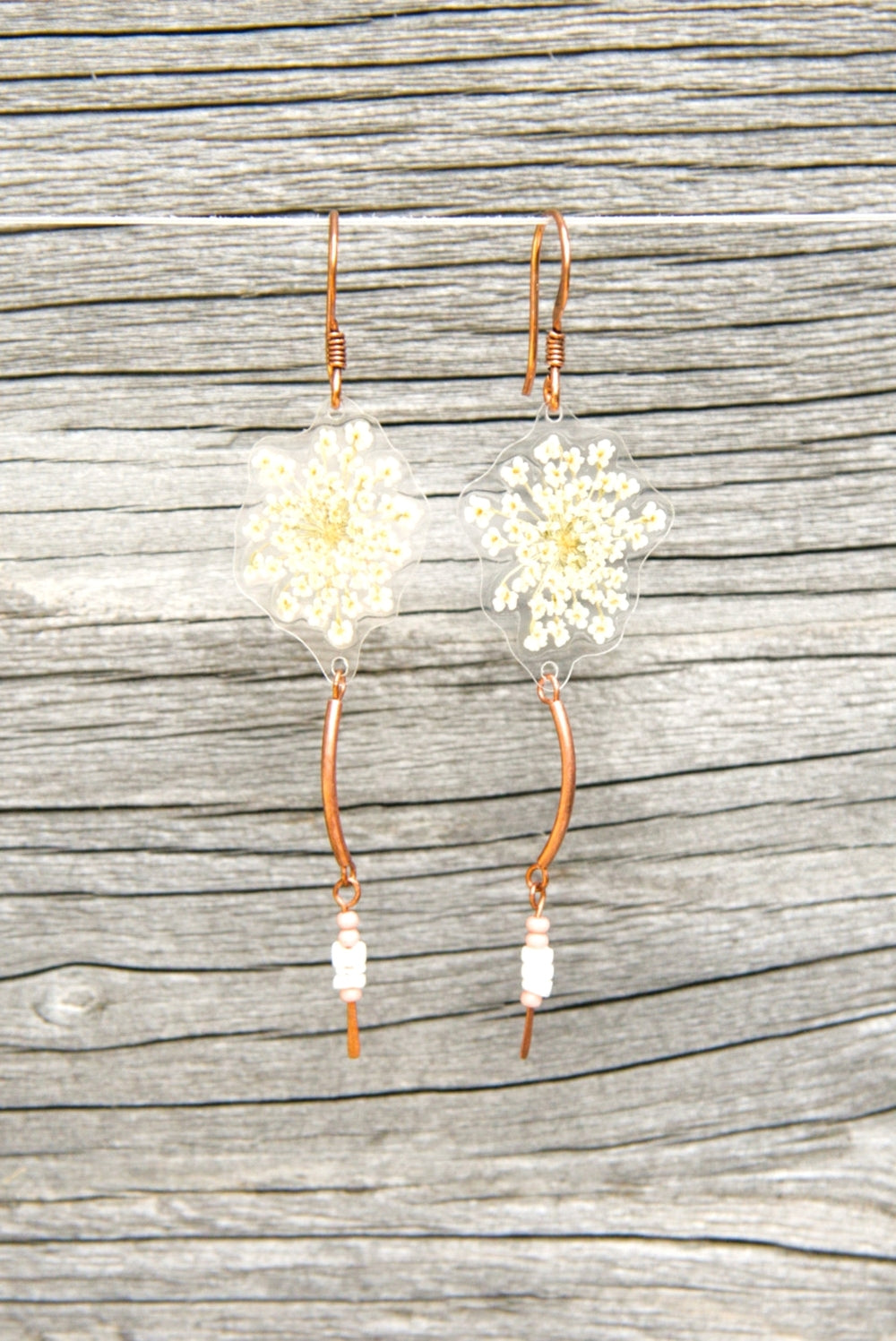 White Queen Anne's Lace Pressed Flower Earrings with Czech Glass Beads