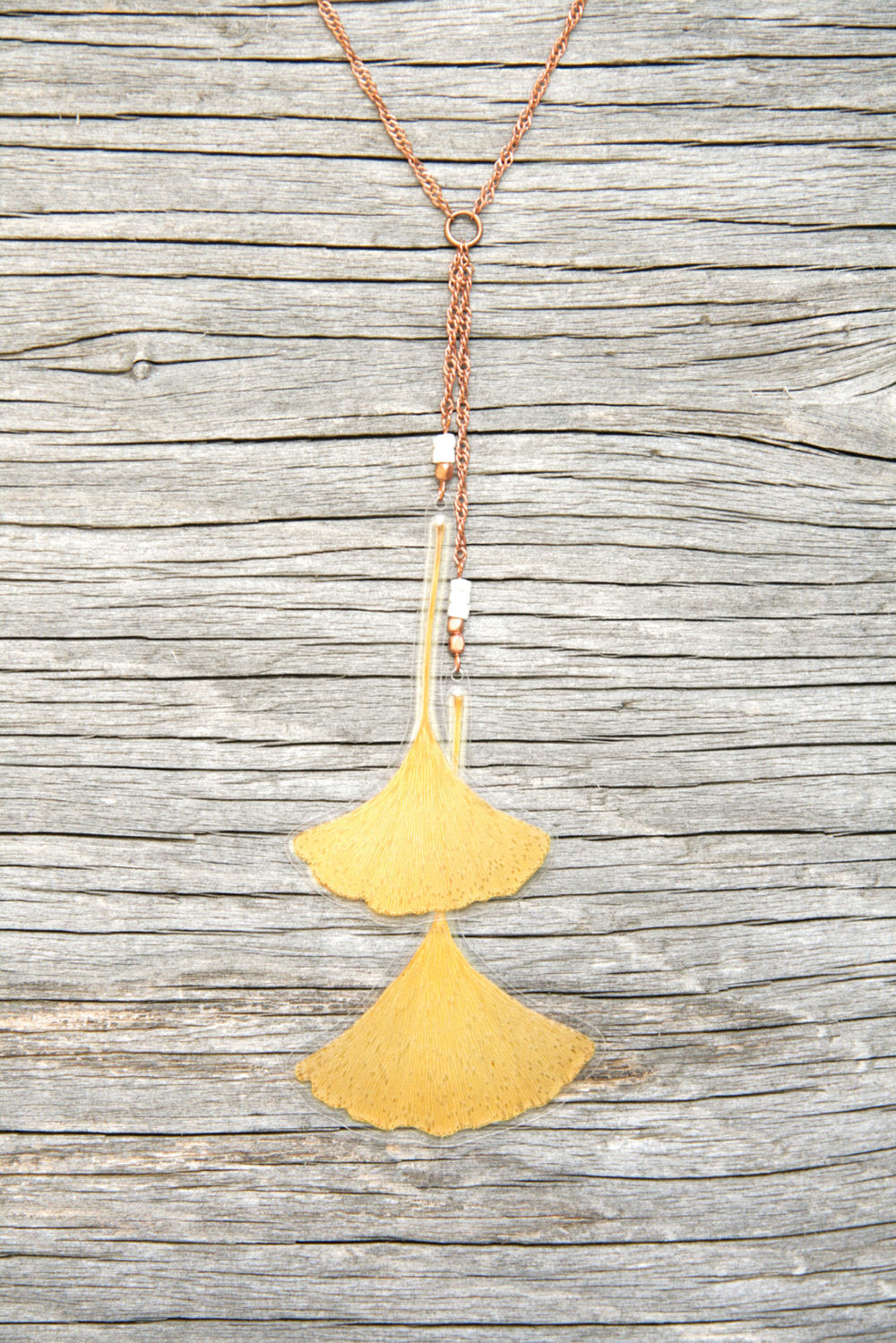 Yellow Green Ginkgo Pressed Leaf Necklace with Shell & Copper Beads