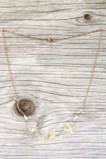 White Queen Anne's Lace Pressed Flower Necklace with Copper & Glass Beads