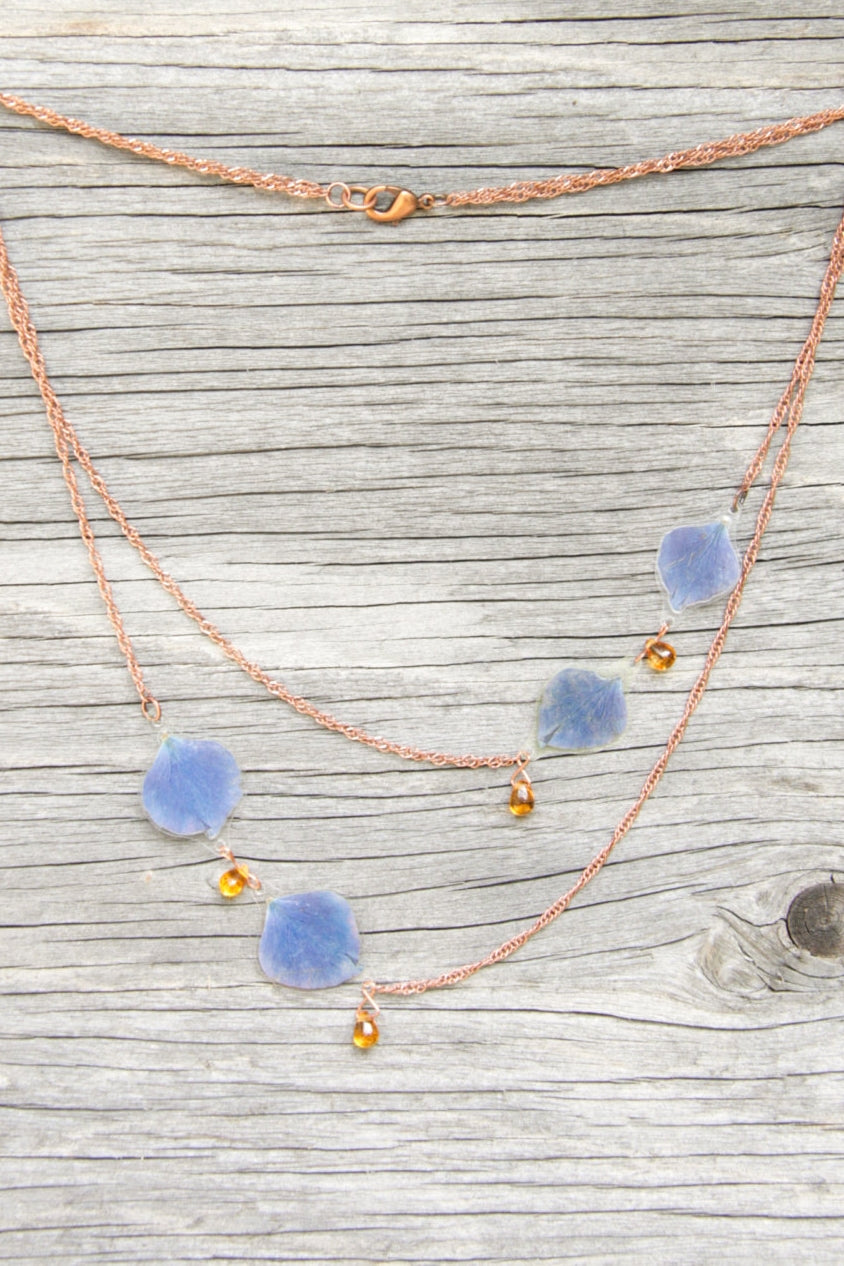 Blue Hydrangea Pressed Flower Necklace with Amber Czech Glass Beads