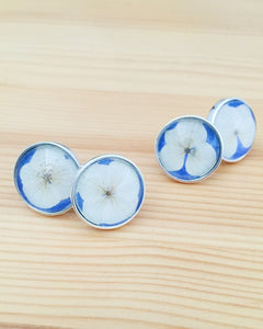 Hydrangea Pressed Flower Silver Men's Wedding Cufflinks