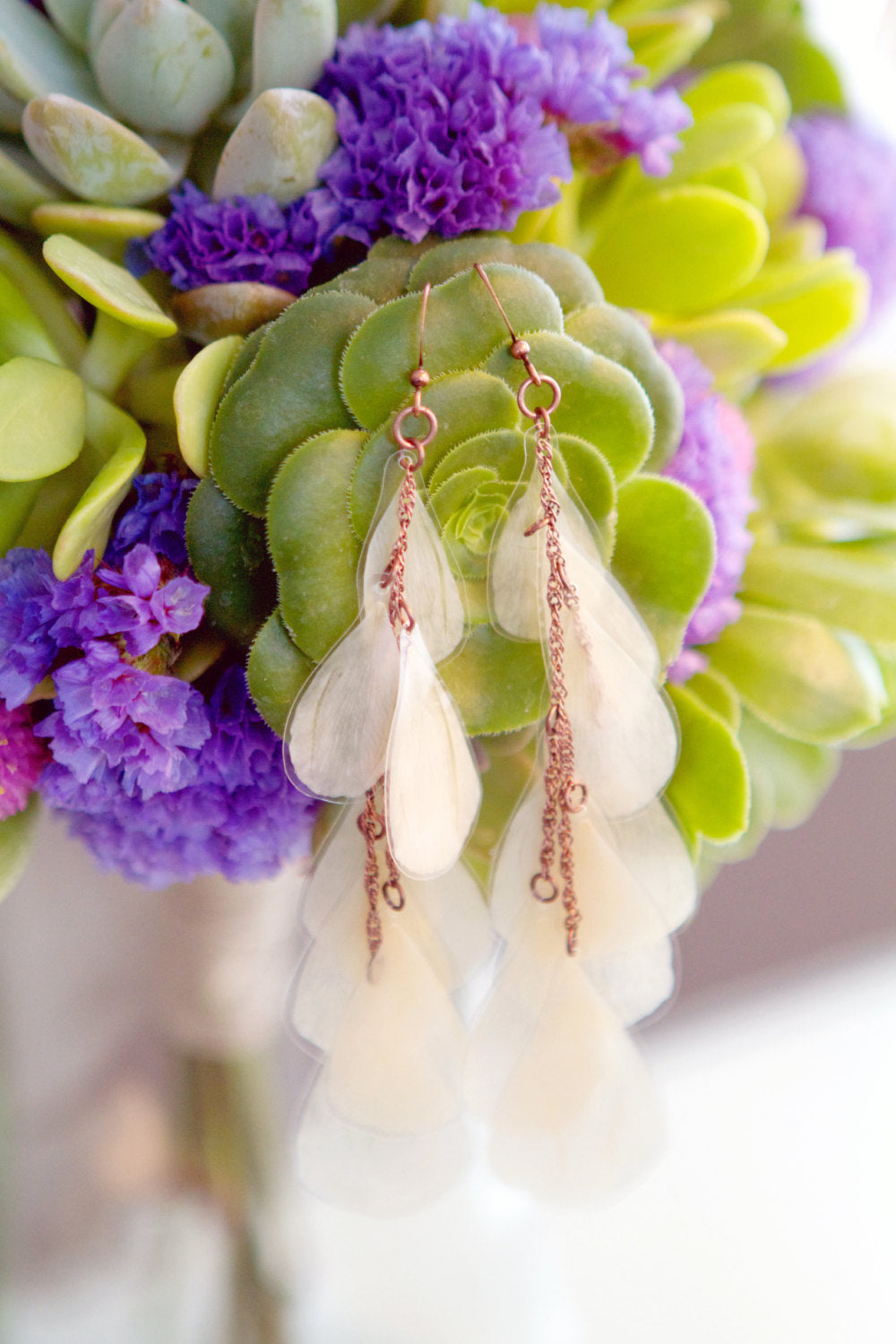 White Ranunculus Pressed Flower Bridal Earrings--Custom Available