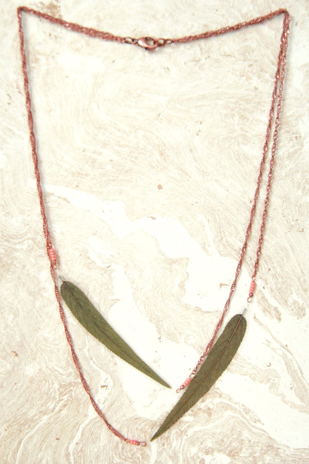 Green Sage Pressed Leaf Necklace with Copper & Coral Czech Glass Beads