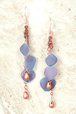 Purple Hydrangea Pressed Petal Earrings with Copper Teardrop Glass Beads