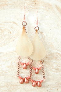 White Ranunculus Pressed Flower Earrings with Copper Glass Beads