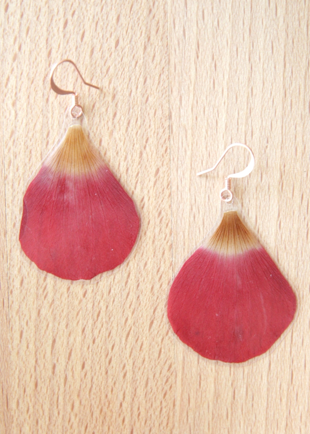 Red Anemone Pressed Petal Earrings