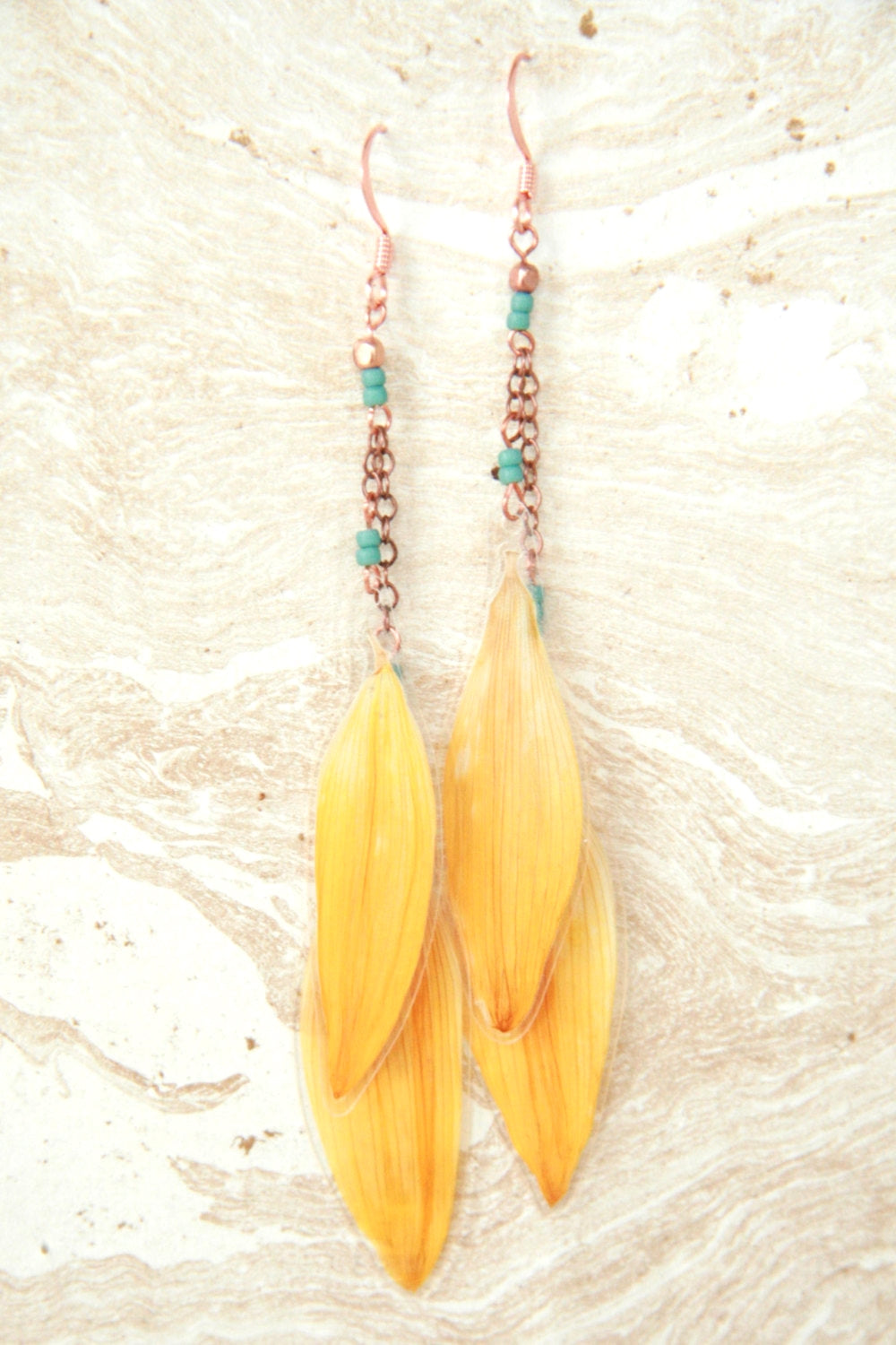 Yellow Sunflower Pressed Flower Earrings with Copper & Turquoise Glass Beads