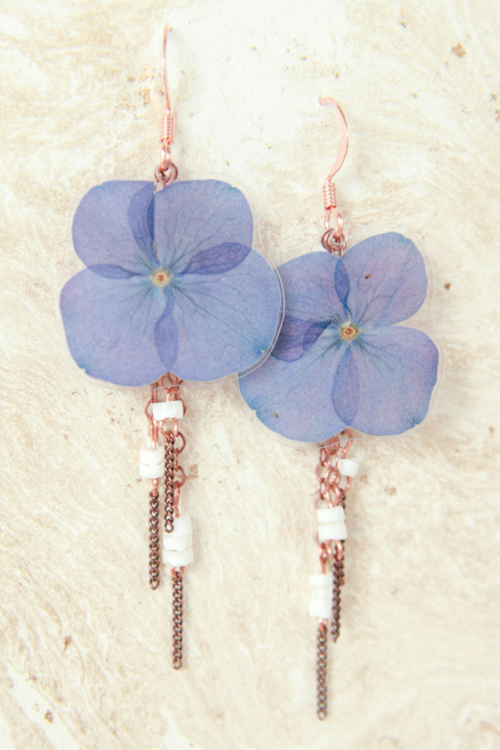 Purple Hydrangea Pressed Flower Earrings with White Shell Beads