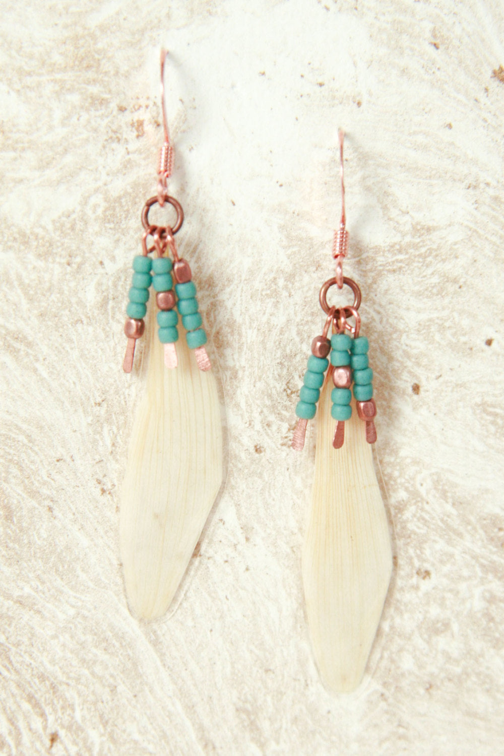 White Daisy Pressed Flower Earrings with Copper & Turquoise Glass Beads