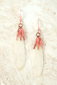 White Daisy Pressed Flower Earrings with Copper & Coral Glass Beads
