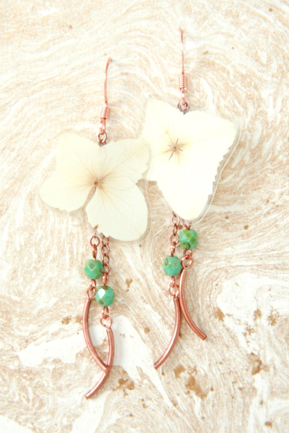 White Hydrangea Pressed Flower Earrings with Copper & Turquoise Glass Beads