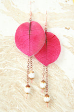 Fuchsia Bougainvillea Pressed Flower Earrings with White Brown Glass Beads