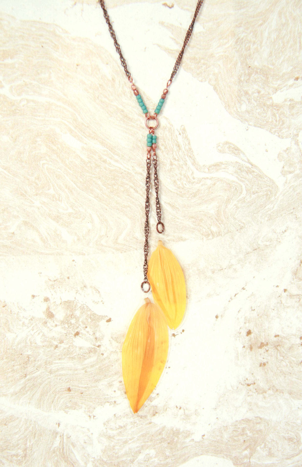 Yellow Sunflower Pressed Petal Necklace with Copper & Turquoise Glass Beads