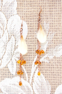 White Ranunculus Pressed Flower Earrings with Amber Czech Glass Teardrop Beads