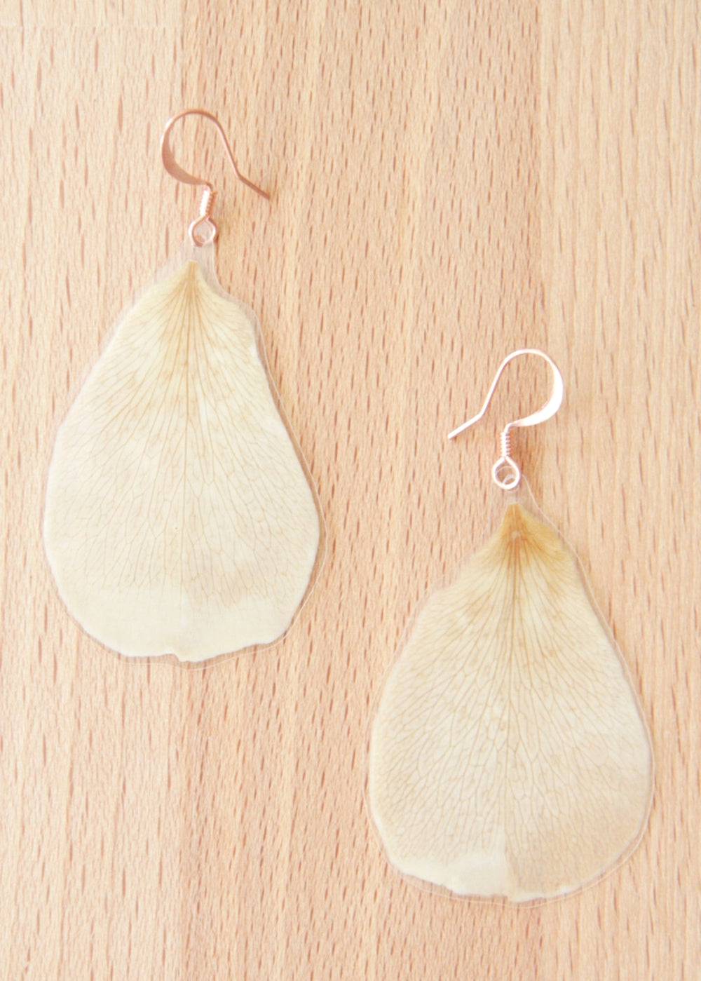 White Rose Pressed Petal Earrings