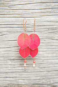 Fuchsia Bougainvillea Pressed Petal Earrings with Czech Glass Beads
