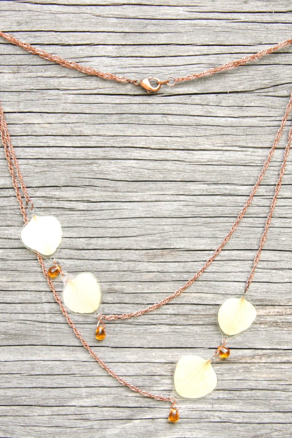 White Hydrangea Pressed Flower Necklace with Amber Czech Glass Beads