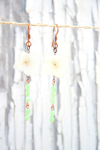 White Hydrangea Pressed Flower Earrings with Jade Pinch Beads