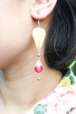 Fuchsia & White Rose Pressed Flower Earrings with Glass Beads