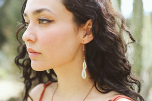 Green & White Snow on the Mountain Pressed Leaf Earrings with Matte Gold Glass Beads