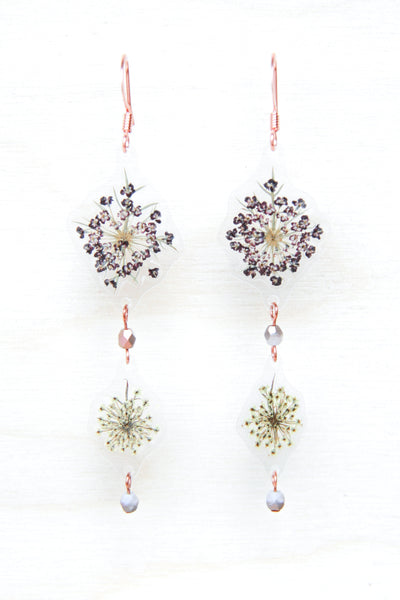 White & Purple Queen Anne's Lace Beaded Earrings
