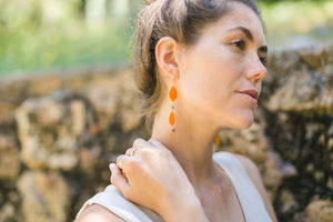 Orange Sun Star Double Drop Beaded Earrings