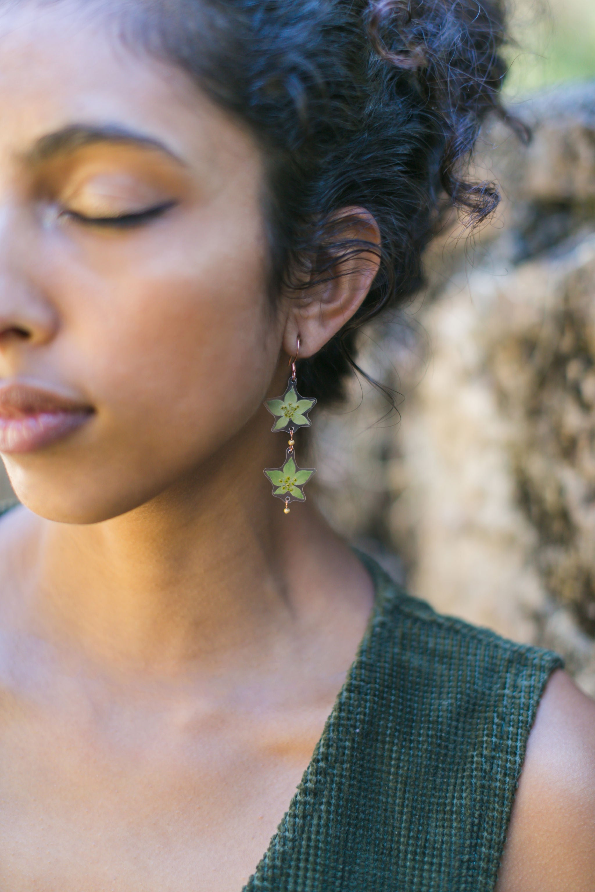 Green Bupleurum Double Drop Beaded Earrings