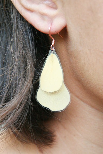 White Rose Pressed Flower Earrings