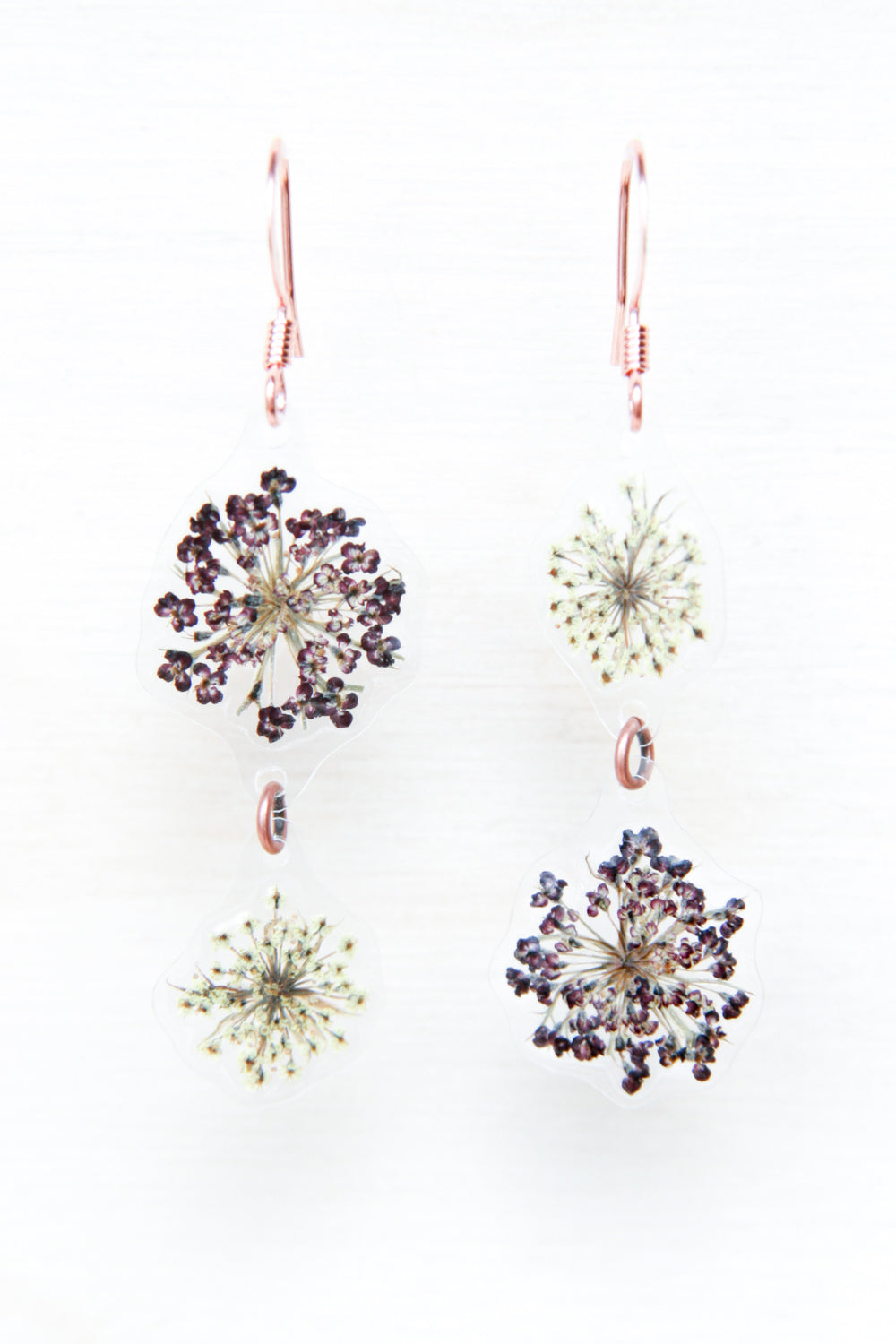 White & Purple Queen Anne's Lace Pressed Flower Duo Earrings