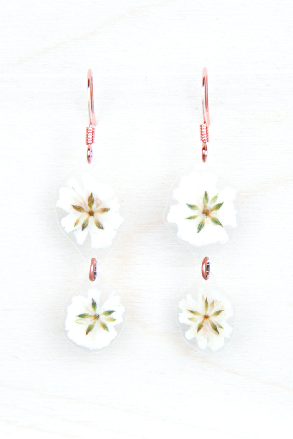White Baby's Breath Pressed Flower Duo Earrings