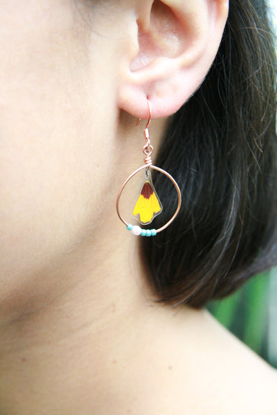 Yellow Coreopsis Pressed Flower Earrings with Copper Hoop & Glass Beads