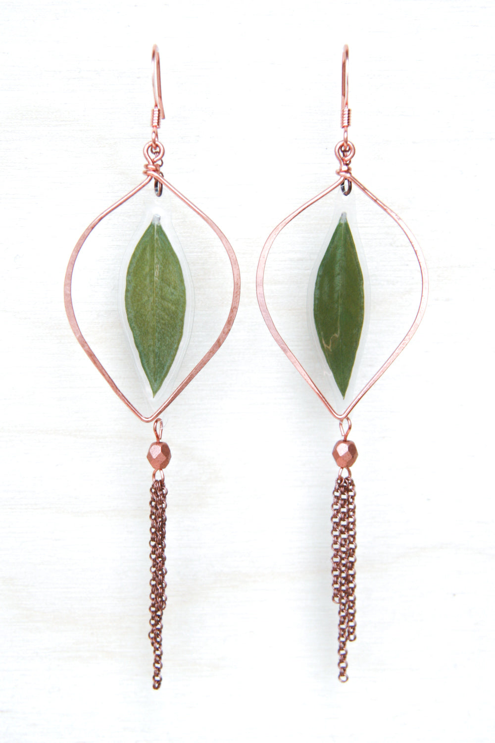 Green Myrtle Leaf Copper Hoop Earrings