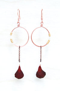 Red Geranium Petal Drop Earrings with Copper Hoop & Gold Beads