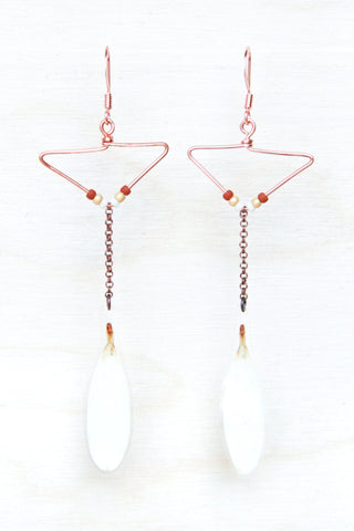 White Shasta Daisy Petal Earrings with Copper Triangle Hoop & Terracotta Beads