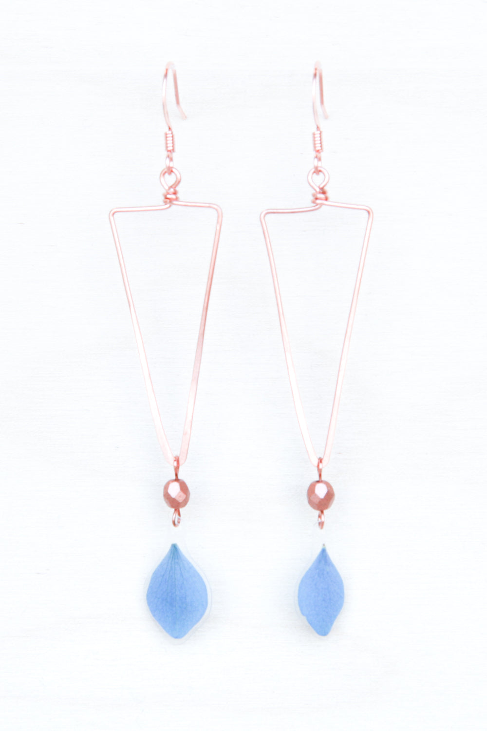 Blue Hydrangea Triangle Hoop Earrings with Copper Beads