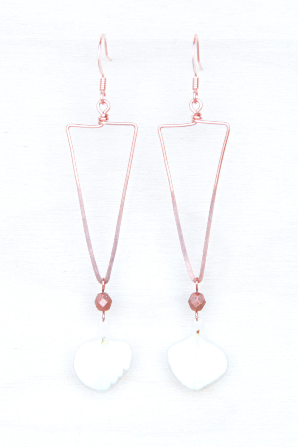 White Hydrangea Triangle Hoop Earrings with Copper Beads
