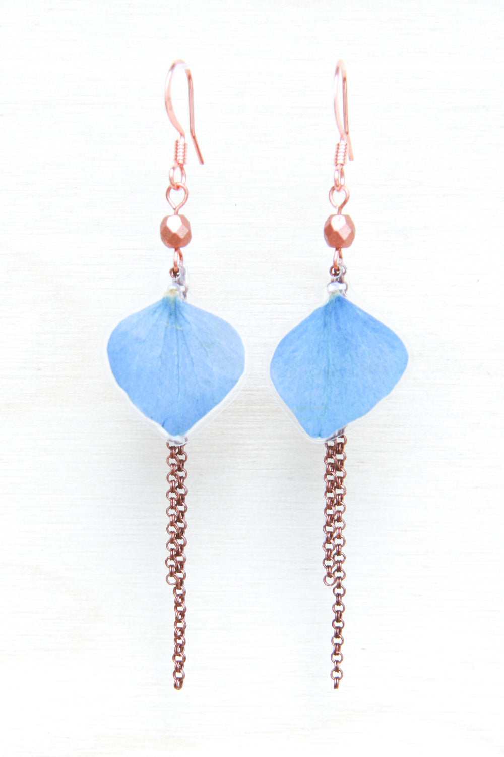 Blue Hydrangea Petal Earrings with Copper Beads & Dangles