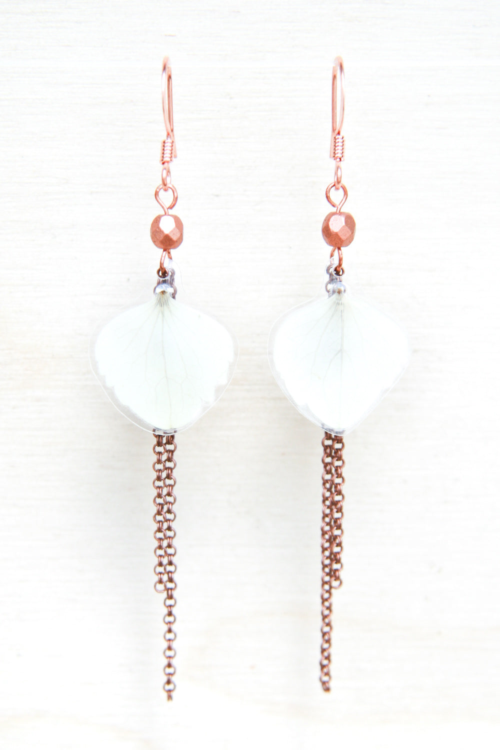 White Hydrangea Petal Earrings with Copper Beads & Dangles